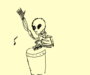 Skeleton playing a drum