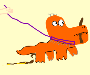 Pet orange dragon on purple leash hold stick