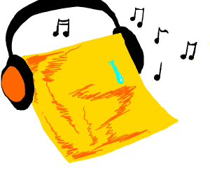 Cheese slice listens to Music