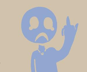 Sad child flips you off