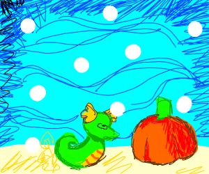 Seahorse confused by a pumpkin in the ocean