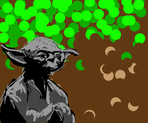 yoda in a forest