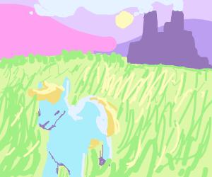 sad pony walking in feild, factory in back