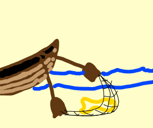 wooden boat catching fish