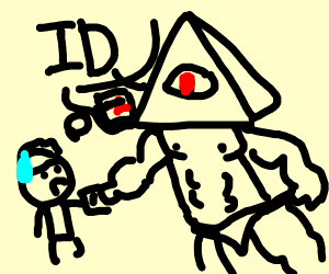 Buff illuminati asking you for your ID