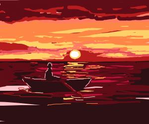 Boat rows on a beautiful ocean