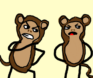 Angry monkeys arguing