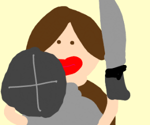 woman with big lips is ready to fight