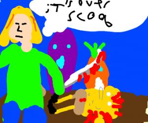 Shaggy killing Spongebob to avenge Scooby