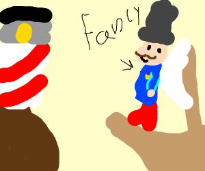 Fancy man sailing towards a lighthouse