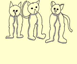 3 cats, 6 legs and 2 tails.