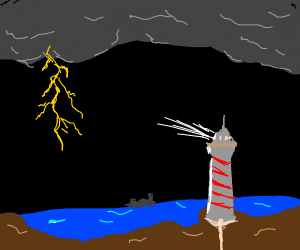 lighthouse in thunderstorm