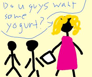 lady asking kids if they want yogurt