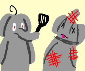 elephant murdered  elephant with moldy spatul
