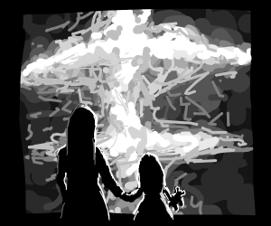 mother and kid sadly watch a mushroom cloud