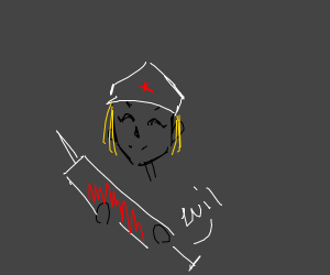 blonde nurse with evil shot
