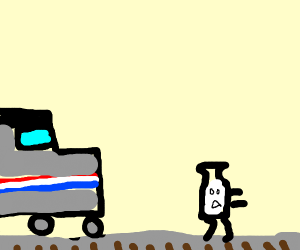 Milk running from train track