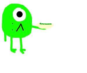mike wazowski holding green beans on a plate