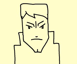 Stern looking blond guy