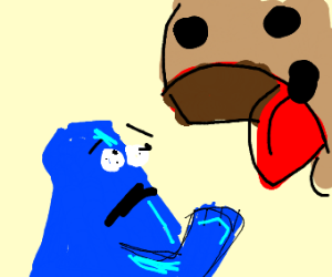 Cookie Monster eaten by a cookie