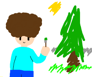 bob ross with a happy little tree