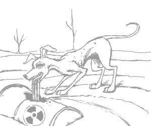 Sad image of starving dog eating nuclearWaste