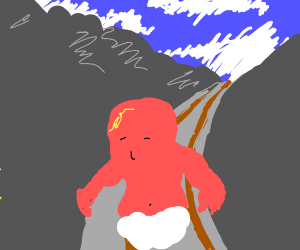 Red baby on RR tracks through mountain pass