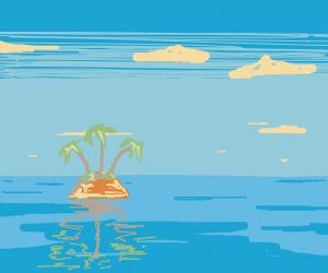 Palm tree on a dried-up island