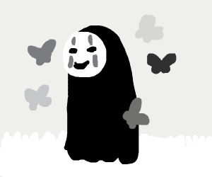 No-Face in the tall grass w/ butterfly pals