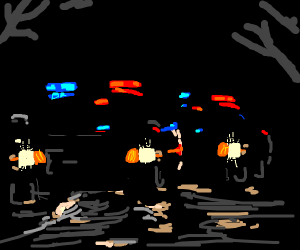 2 police cars in the dark