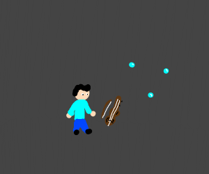 Man with tiny violin and bubbles