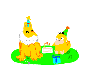 Psyduck and hypno are having a party