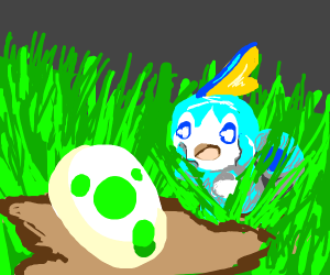 Sobble is afraid of an egg.