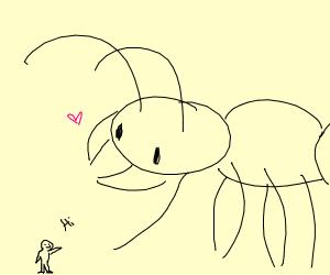 very tiny man saying hi
