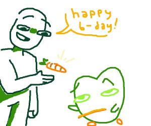 Duolingo owl gets a carrot for birthday