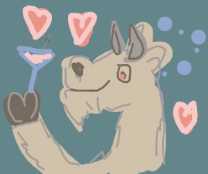 Drunk and happy in love goat