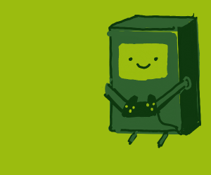 BMO (Adventure Time) with a controller