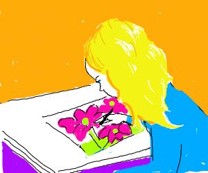 Girl painting something pink