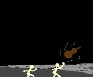 Naked guy throws a cello
