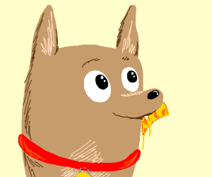 Dog eats a slice of cheese