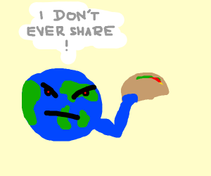 mean earth holding a taco