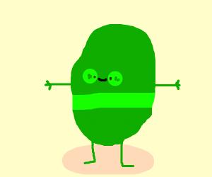 Green potato man with green stripe