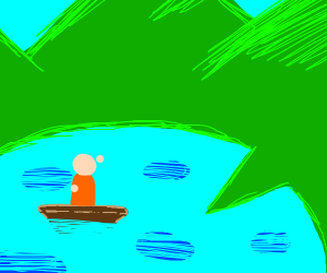 Person in boat on pizza lake