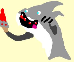 shark with a knife
