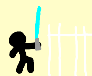 Stick man with lightsaber I front of a fence