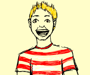 Red and white striped shirt on  blonde boy