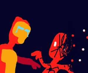 iron man watches spiderman turning into dust