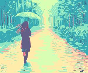 purple person in rain