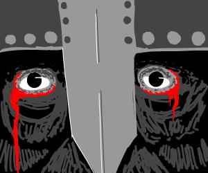 A pair of bloodshot eyes