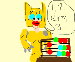 Woman in golden armour tries to count?